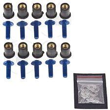 10 Blue Windscreen Fairing Bolts Wellnuts 5mm Set Suzuki GSXR 600 750 1000 1300