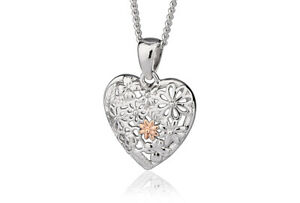 BRAND NEW Official Welsh Clogau Silver & Rose Gold Floral Pendant £50 off!
