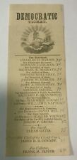 1874 Missouri Democratic Ticket for Governor Charles H Hardin & Other Offices