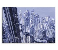 120x80cm Leinwandbild auf Keilrahmen Futuristisch Wolkenkratzer Blautöne