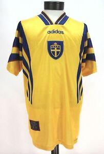 ADIDAS Sweden Jersey Soccer Futbol SFF SVENSKA Vintage OFFICIAL Yellow Men's L
