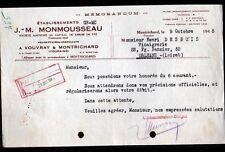 """MONTRICHARD & VOUVRAY (41 / 37) VINS BLANCS """"J.M. MONMOUSSEAU Propriétaire"""" 1945"""