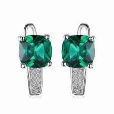 3.3ct Nano Russian Emerald Earrings Solid 925 Silver Special Occassion Gift