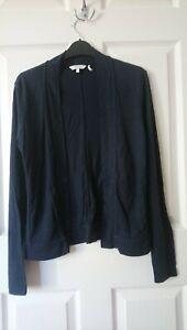 Fat Face Jersey Cardigan Size 10 Navy Blue Cotton/Modal
