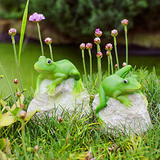 Garden Frog Ornaments Animal Pair 'Leafy & Leroy' Frogs on Rocks