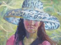 OIL GIRL IN THE HAT LISTED ARTIST ANNE CATHERINE PHILLIPS FREE SHIPPING ENGLAND