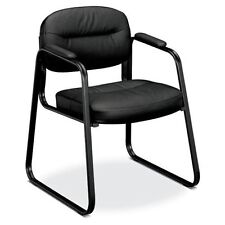Basyx By Hon Softhread Leather Sled Base Guest Chair - Leather Black Seat -