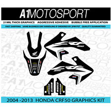 Honda CRF50 OEM-Black Factory HRC Team Graphics 2004-2013 Thick Laminated