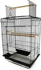 """22"""" H Steel Parrot Bird Cage Open Play Top Perch Feeding Bowl - Black New"""