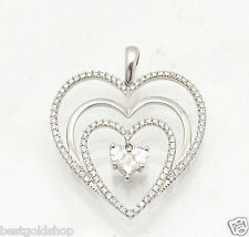 0.88tcw REAL Diamond Heart in Heart Charm Pendant Solid Real 18K White Gold
