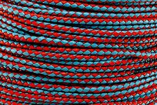 """Light Blue & Red Braided 3MM Bolo Leather Cord Jewelry DIY Supplies Craft 1/8"""""""