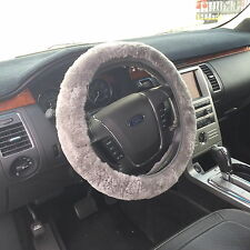 New Genuine Sheepskin Steering Wheel Cover / Steel-Grey