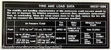 KAWASAKI Z1300 KZ1300 VOYAGER TIRE AND LOAD DATA CAUTION WARNING DECAL