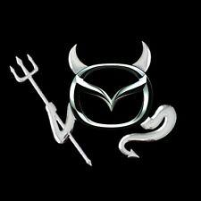 3D Chrome Devil Decal Car / Truck Custom Demon Stickers W/ Horns 4 Pieces Mazda!