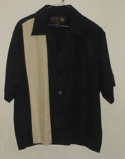 New NAT NAST Black Cream 50s-60s SHIRT JAC Style! 2 Pockets! HIPSTER 100% SILK M