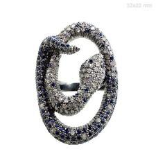 Sapphire Gemstone Diamond Pave SNAKE Ring Sterling Silver Vintage Style Jewelry