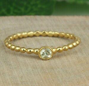 Lemon Topaz Gemstone Yellow Gold Plated 925 Silver Stackable Designer Rings