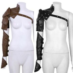 2 Set Mens PU Single Shoulder Chest Harness Armor Metal Buckles Cosplay Costume