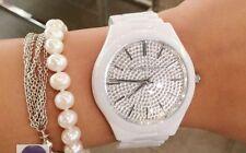 MICHAEL KORS MK3448 Slim RUNWAY Ceramic White Silver Crystal Glitz Women's Watch