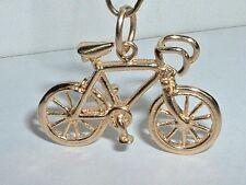 VINTAGE 14K YELLOW GOLD 3D TEN SPEED BICYCLE BIKE PENDANT CHARM