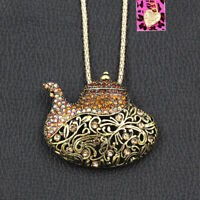 Betsey Johnson Vintage Rhinestone Teapot Pendant Long Chain Necklace/Brooch Pin