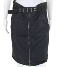 MARC JACOB Gray Zipper Skirt Ruched belted midi knee length stretch pocket 12 L