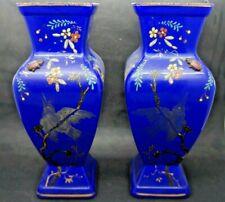Paire de Vases en Verre Opaline Bleu Emaillée XIX eme