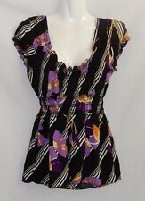 """MINKPINK"" - Size 10 -  Great Pre Loved - Black, Purple, Yellow & White Top"