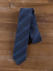 Z ZEGNA blue skinny striped silk cotton mix tie authentic - NWT