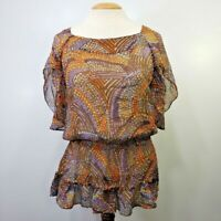 Sundance Catalog Women's Top Medium M Silk Sheer Elastic Waist Peasant