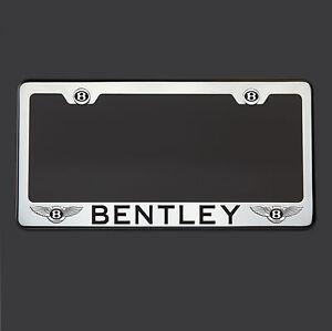 8K Polish Mirror Stainless Steel Bentley Black Laser Etched License Plate Frame