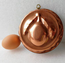 "Vintage Portuguese plum copper jelly mould mousse or jello mold 5"" fruit design"