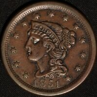 "1851 ""BRAIDED HAIR"" LARGE CENT,  ANOTHER  GORGEOUS CLASSIC OLD COPPER!"