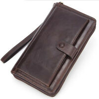 Men Genuine Leather Long Wallet Zipper Money Purse Hand Bag Phone ID Card Holder