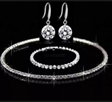 DIAMANTE RHINESTONE NECKLACE EARRINGS SET WEDDING JEWELLERY Bride Prom UK SELLER