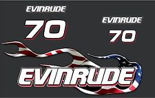 Evinrude 70hp Triple Carb Outboard USA - American Flag Flame Decal kit