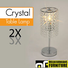 Table Lamp Chrome Metal Base And Stand Acrylic Crystal Chain Set Of 2 T-337-1