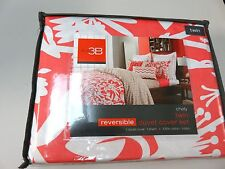 Nwt-Studio 3B Duvet Cover Set Twin- Chely- Coral Beige White- Reversible Cotton