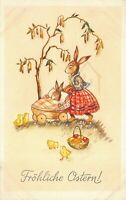 Easter Postcard Dressed Mother Bunny Rabbit Pushing Baby Carriage Chicks~125960