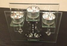 TEALIGHT GLASS CANDLE HOLDER Hanging Diamond Feature Vintage Stylish Modern Fab