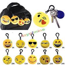 Mignon emoji smiley stuffed plush toy key chain emoticon jaune doux coussin