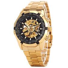 Luxuy automatik mechanische Damen Armbanduhr Edelstahl Herrenuhr Wristwatch Gold