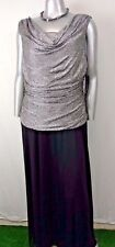 R&M RICHARDS MAXI DRESS Size 18W OCCASION Cowl Neck Silver Metallic/Black NWT