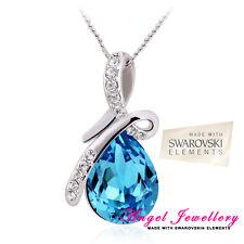 Eternity Teardrop Pendant Swarovski Elements Light Blue Crystal Silver Necklace