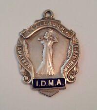 IDMA Vintage 1953 Solid Silver Enamel Watch Fob Amateur Ballroom Dance Medal