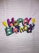 Embroidered KITCHEN BAR  Hand Towel Happy Birthday BS0533   candle and balloons