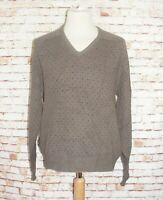 size 2XL vintage 80s sweater jumper geek grandad grunge v-neck brown pattern
