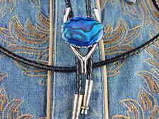 nuovo fatto a mano blu ABALONE BOLO cravatta argento metallo pelle corda,