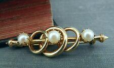 Pearls Bar Pin/ Brooch Gold Plated Circles &