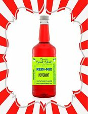 Shaved Ice Syrup - Peppermint Flavor In Longneck Quart Size #1Snoball
